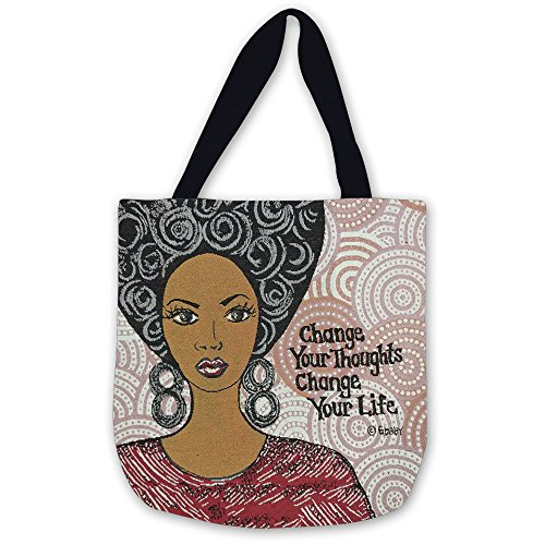 Shades of Color Woven Tote Bag, Change Your Thoughts, 17 x 17 inches (WTB011), Pink