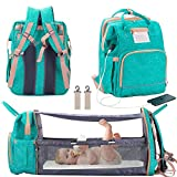 3 in 1 Diaper Bag Backpack with Changing Station, Foldable Baby Travel Bassinet Bed, Portable Crib, Large Capacity, Waterproof, USB Charging Port, Green