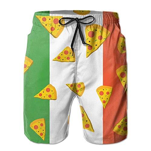 ZQHRS Männer Schnelltrocknend Schnellimbiss Italia Flag Pizza Badehose Board Cargo Shorts Größe L