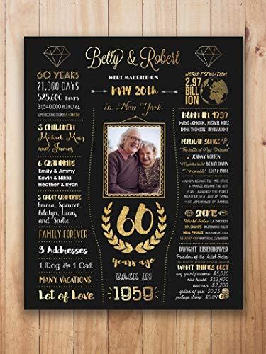 60th anniversary sign PICTURE, 60th anniversary gift, diamond anniversary, 60 year anniversary, 60 years of marriage, wedding anniversary