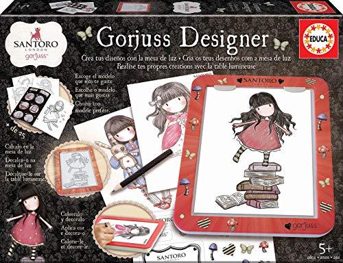 Educa (18238) Mesa De Diseño de luz Gorjuss Designer, colorea y decora, incluye adhesivos y libro con modelos, a partir de 5 años , color/modelo surtido