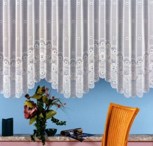 Gardine, Blumenfensterstore mit ca. 125 cm Bogen und Universalschienenband, Größe 125x500