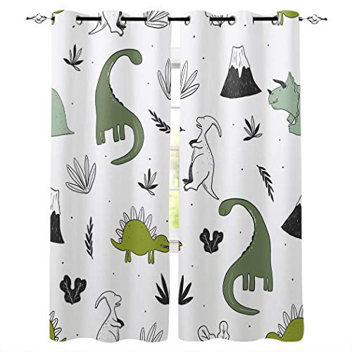 Possta Decor Cartoon Jurassic Age Drawing Dinosaur Curtain Window Treatment Drapes 2 Panles Set- Grommet Top,Green White