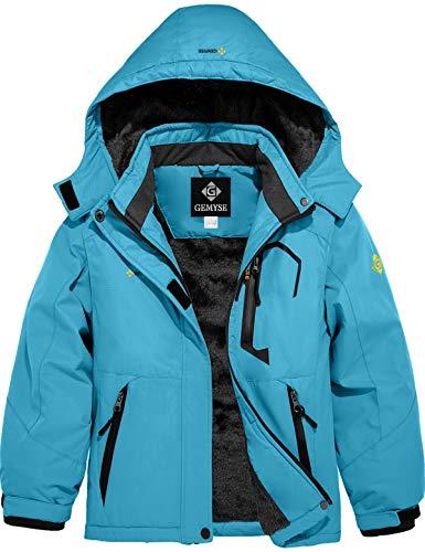 GEMYSE Girl's Waterproof Ski Snow Jacket Fleece Windproof Winter Jacket with Hood (Light Blue,10/12)