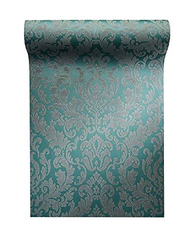 Vlies Tapete Barock Muster Ornament Glitzer effekt petrol klassisch Damask 64756