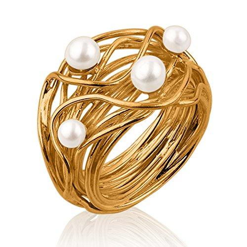Nenalina Damen Ring Perlenring besetzt mit 2 Süsswasserperlen 4 mm und 2 Süsswasserperlen 5 mm in weiß, handgearbeitet aus 925 Sterling Silber vergoldet, Gr. 60-721058-542-60
