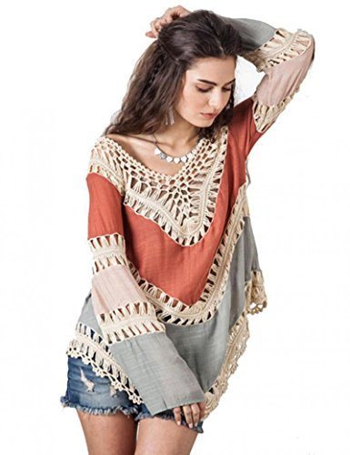 Wuiyepo Frauen Böhmen Langarm Stickerei Spitze Crochet Strick Spliced Bluse (orange)