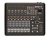 HQ-Power HQMX10002 - Mesa de mezclas compacta (8 canales), color negro