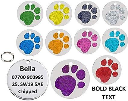 mit Pfotenabdruckmotiv personalisierbar klein gro/ß JK Haustiermarke f/ür Hunde//Katzen