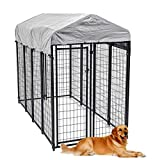 Outdoor Covered Dog Yard Kennel, Modular Steel Welded Wire Yard Kennel Galvanized Metal Playpen, Basic Expanded Heavy-Duty Outdoor Dog Yard Kennel w/UV Protection Waterproof Dog Kennel Cover