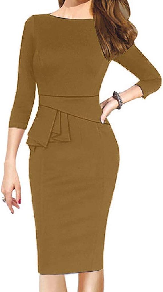 VonVonCo Fashion Bodycon Dress for Women Elegant O-Neck Half Sleeve Work Office Formal Pencil Sheath Dress