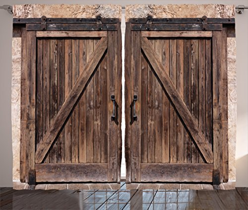 "Ambesonne Rustic Curtains, Wooden Barn Door in Stone Farmhouse Image Vintage Desgin Rural Art Architecture Print, Living Room Bedroom Window Drapes 2 Panel Set, 108"" X 84"", Beige"