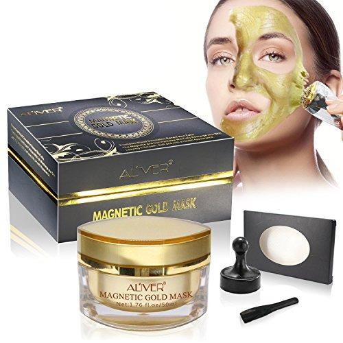 Aliver, maschera d'oro magnetica per il viso, detergente e purificante, anti acne e punti neri, 50 ml