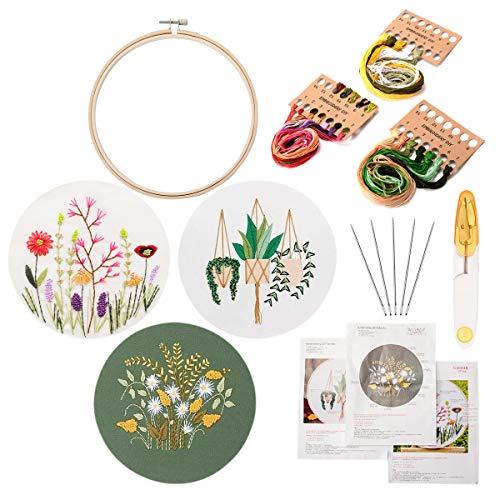 LAOYE Anfänger Stickerei Set Embroidery Kit Sticken Stickset Stickrahmen Stickstarter-Kits mit 3 Mustern und Anleitungen, 1 Stickrahmen Bambus 20cm, Stickgarn Farbfäden und Werkzeuge