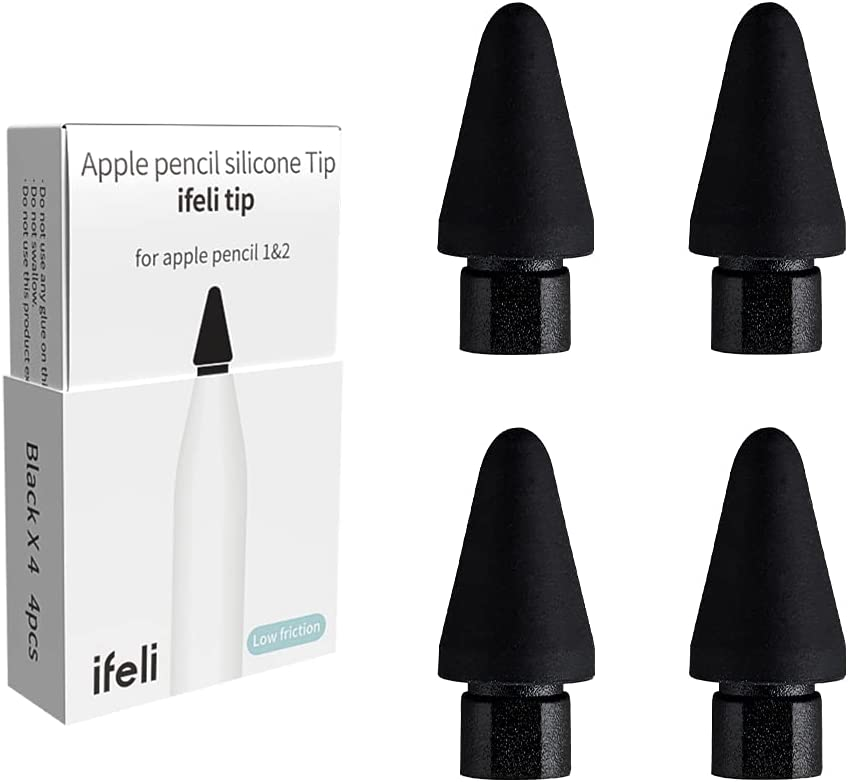 IFELI Low-Friction All-in-One Silicone Tip Replacement for Apple Pencil (4pcs 1 Set) | Silicone Pen Nibs for iPad Pencil | (4pcs Black)