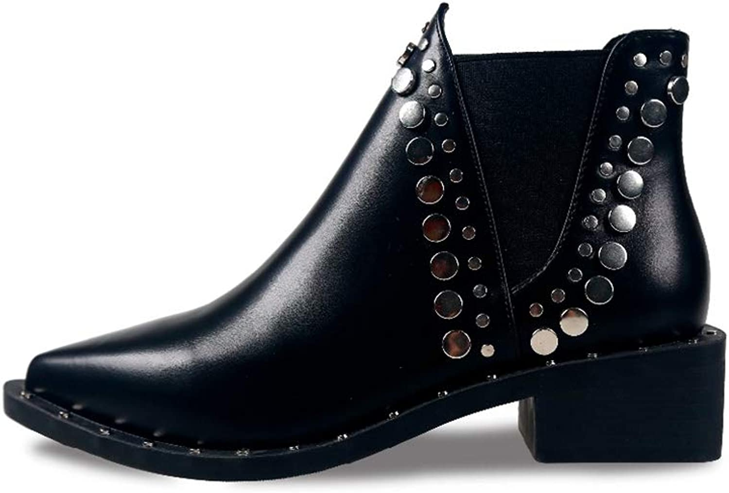 T-JULY Women's Ankle Boots Cool Rivet shoes Thick Heels Comfort Pointed Toe Botas Cool Punk Style Black Short Boots