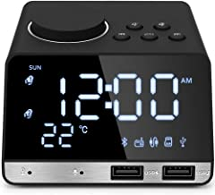 Hetyre 4.2 Inch Alarm Clock Radio, Bluetooth Speaker with Dual Snooze Clock USB Charging Port, AUX TF Card Play, Thermometer, Large Mirror LED Dimmable Display for Bedroom, Kitchen, Hotel, Table, Desk