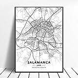 shuimanjinshan Póster De Mapa De España De Tarragona Salamanca Ibiza Granada Cádiz Málaga 50X70Cm No Frame W-14