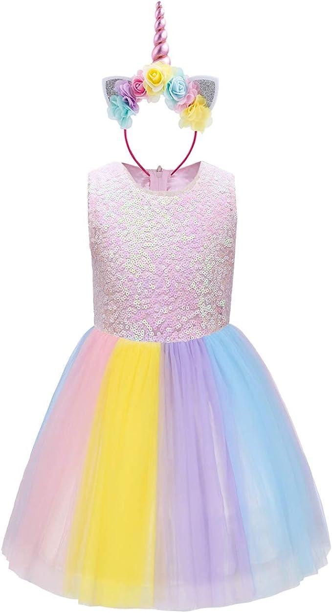 FYMNSI Einhorn Kleid Kinder Mädchen Pailletten Tütü Tüll Regenbogen Rock  Prinzessin Geburtstag Partykleid Festkleid Abendkleid Hochzeit Brautjungfer  ...