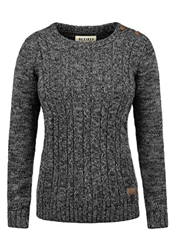 DESIRES Phia Damen Winter Strickpullover Troyer Grobstrick Pullover, Größe:L, Farbe:Black (9000)