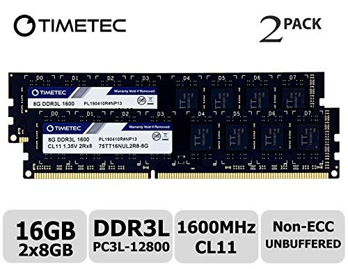 Timetec Hynix IC 16GB Kit (2x8GB) DDR3L 1600MHz PC3-12800 Unbuffered Non-ECC 1.35V CL11 2Rx8 Dual Rank 240 Pin UDIMM PC...