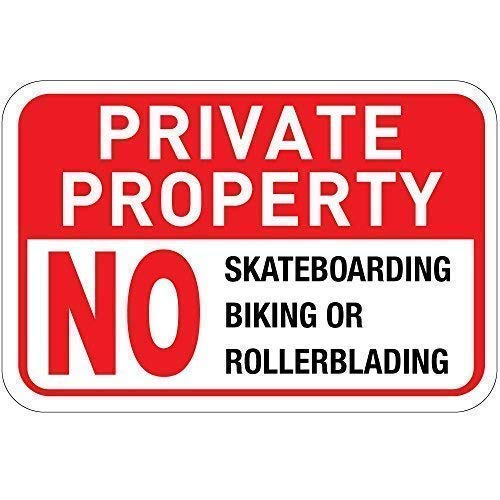Tin Sign Warning Sign Private Property No Skateboards Bikes Or Rollerblades Room Metal Poster Wall Decor