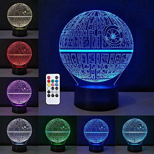 3D Planeta LED Lámparas,Lámpara de la noche del LED de la carga USB del efecto creativo del Planeta de la ilusión 3D con 7 colores que cambian para las decoraciones del hogar / de la oficina lámpara