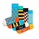 Happy Socks - Juego de 4 pares de calcetines para hombre y mujer, diseño de rayas, en caja de regalo (36-40)
