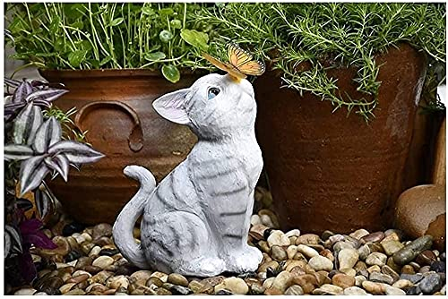 RFVB Statue de Jardin Figurine Papillon de Chat avec Ornement de Jardin de pelouse Solaire