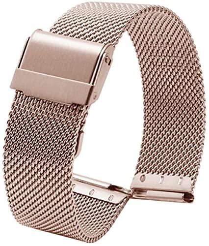 ZHENWULU Reloj Correa Thin Watch Cadena para Hombres y Mujeres Seiko Acero Inoxidable Liberación rápida Longitud Ajustable Compatible Rosegold-13mm Excellent