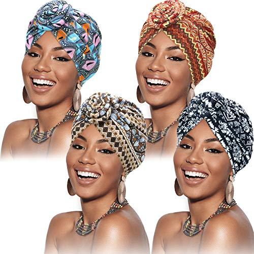 SATINIOR 4 Stücke Afrikanisches Muster Headwrap Vorgebundene Haube Turban Knot Kopf Hut (Schwarz Grün Gelb Braun Blume)