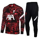 Movement LiverPǒǒl para Entrenamiento de fútbol Hombres Traje de Jersey de Fútbol Atletico Feyenoord Top de Manga Larga + Pantalones Set de 2(Size:/M,Color:G1)
