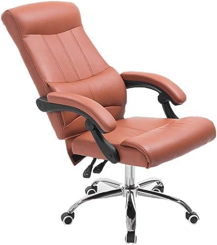 Reposant sur la chaise, chaise pivotante d'ordinateur chaise de bureau chaise de conférence chaise de réception chaise confortable et douce (Couleur   marron)