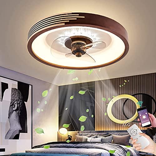 Ventilador de Techo con LED Luz Regulable Madera Moderna Lámpara de Fan con Control Remoto APP Ajustable 3 Velocidades Luz de Ventilador Madera para Dormitorio Estudio Oficina Creativo Decor, 50cm