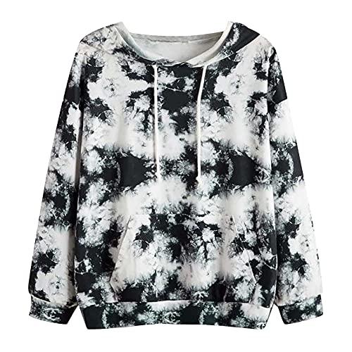 XOXSION Dames Tie Dye sweatshirt, modieuze pullover casual hoodie sexy capuchontrui slim hooded klassieke tops print lange mouwen losse trui, zwart, S