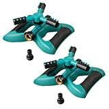 Plemo Lawn Sprinkler, Automatic Garden Water Sprinklers Lawn Irrigation System with Three Arm, Metal Weighted Base, 3600 Square Feet, Different Spray Direction and Rotation 360° (2 Pack)