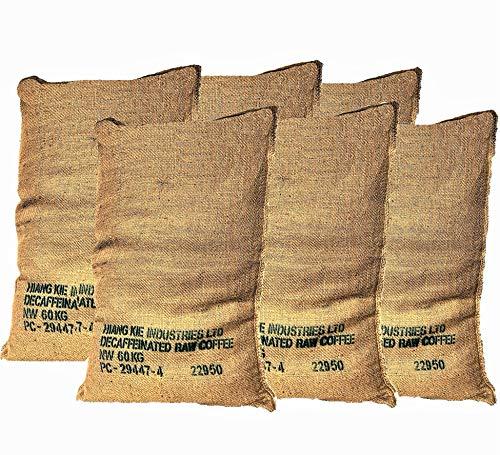 Sacos de Yute Grande de Café Reciclados – Pack de 6 Unidades de 70X100 60Kg – Ideal para Jardinería y Manualidades - Arpillera Natural Ecológica – Respetuosos con el Medio Ambiente.