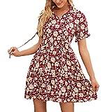 xyjd pullover casual da donna primavera ed estate girocollo stampa floreale abito a maniche corte allentato con orecchie in legno per le donne