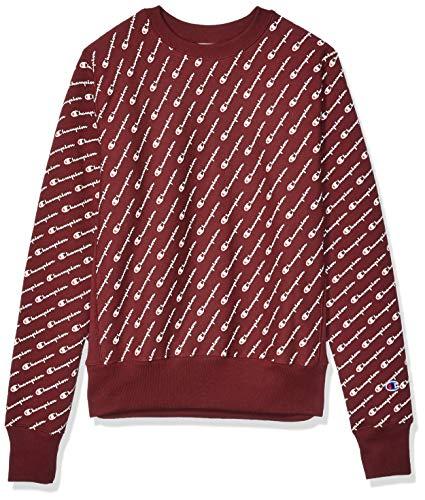 Champion Life Herren Reverse Weave Crew-Print Sweatshirt, Diagonale Schrift, Kastanienbraun, Mittel