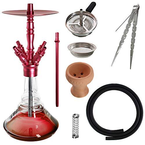 Kaya Shisha Elox Eco Giza - Aluminium Hookah 58cm mit 4 Anschlüssen und Zubehör (Rot)