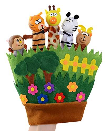 Happy cherry - Guantes de Marionetas de Mano de Animales Cartoon para Niños Bebés Títeres de Dedos de Cuentos Lindos Muñecos de Peluche en 3D Colorido