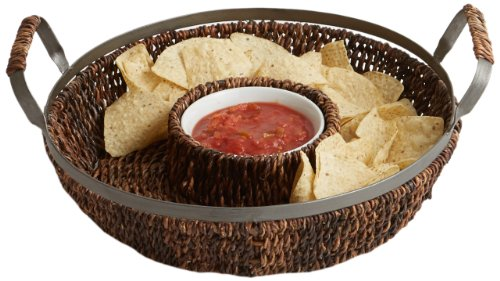 Woodard & Charles Abaca with Metal Trim Chip and Dip Serving Set, 13-Inch