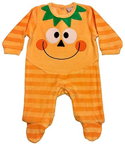 Pyjama bébé citrouille Halloween en velours -  Orange - 2 mois