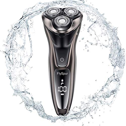 Electric Razor for MenFlySpur 3D Shaver IPX7 Quick Rechargeable100% Waterproof Men#039s Rotary Shavers Wet amp Dry Mens Razors Popup Trimmer with Time Display Coffee