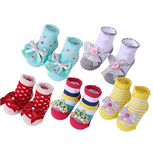5 par/Lote Calcetines de bebé recién Nacido Calcetines de algodón para bebés niñas Calcetines Cortos encantadores Accesorios de Ropa para 0-6,6-12,12-24 meses-a22-6-12Month