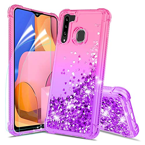 Donse Samsung Galaxy A21 Case w HD Screen Protector [2 Pack], Glitter Diamond Sparkle Waterfall Quicksand,Bling Bling Shock Absorption Soft TPU Protective Phone Case Cover for Girls Women-Pink/Purple