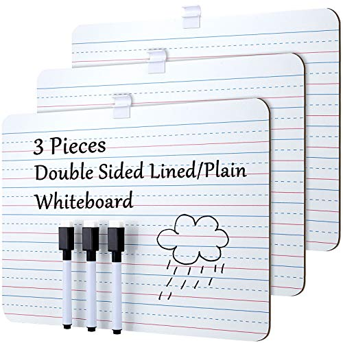 3 Pieces Dry Erase Lapboard with A Pen Double Sided Learning Board 9 x 12 Inch White and Plain Whiteboards Portable Mini Lined Whiteboard for Students Kids Learning Writing