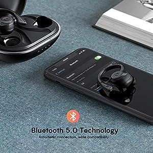 Muzili Bluetooth 5.0 Kopfhörer Sport IPX7 Wasserdicht Sport Kopfhörer kabellose In Ear 36 Stunden Spielzeit HiFi Kopfhörer Sport Joggen mit Ladebox und Mikrofon für Verschiedene Telefone