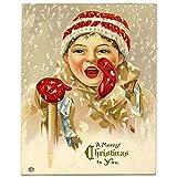 ZFLSGWZ Invierno Niño Nieve Navidad carteles e impresiones arte de la pared lienzo impreso pintura cuadros para la decoración de la sala -60x80cm sin marco