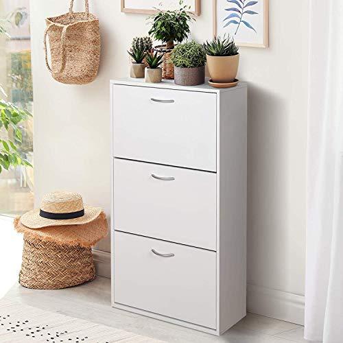 Zapatero para ahorrar espacio con 3 puertas abatibles, mueble de 18 zapatos, 59 x 22 x 105 cm